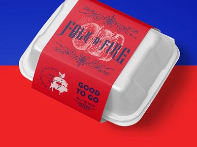 Folk 'n' Fire Take Away Box Vintage Design vintage restaurant hamburger barbecue bbq food identity package type branding logotype logo