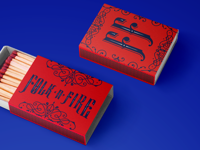 Folk 'n' Fire Matches Box matches bbq barbecue vintage package design identity logotype branding logo