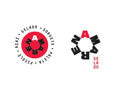 Amarena Ice Cream Factory and Store Logo amarena bold black red brand visual ice cream type design identity logotype branding logo