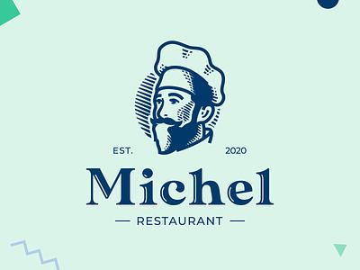 Michel restaurant cooker chef design logo restaurant