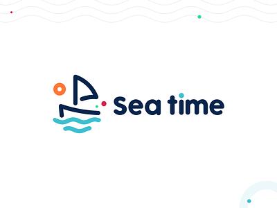 Sea time boat design ship logo