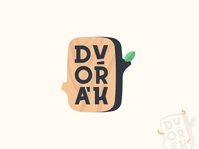 Truhlářství Dvořák leaf sawdust wood design logo