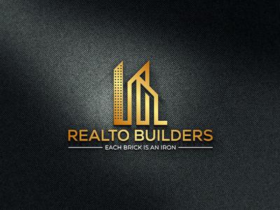 REALTO BUILDERS typography illustrator illustration vector logo real estate realestate design company logo branding realto builders realto builders