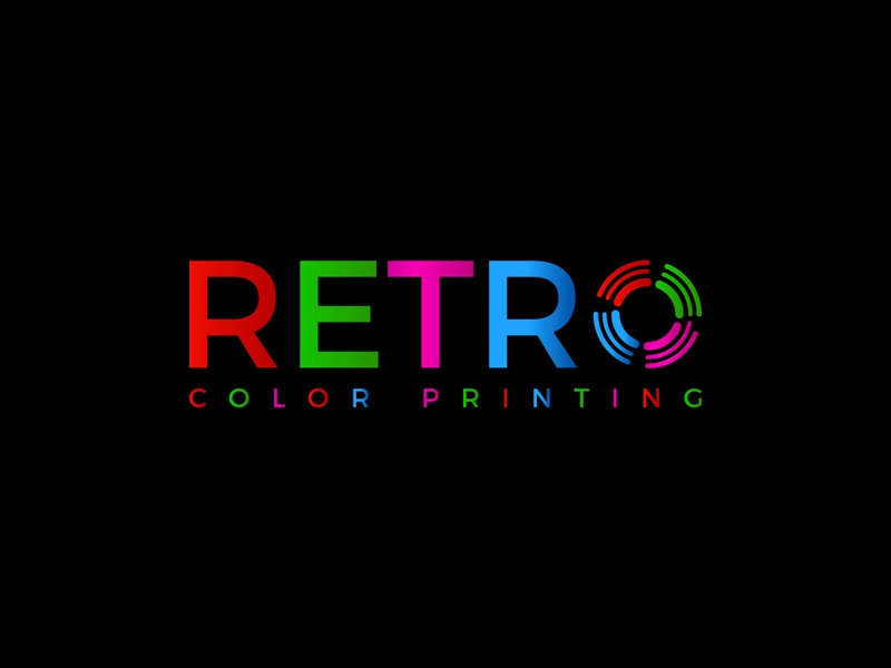 RETRO Color Printing lettering brand logos typography illustrator vector logo design company logo branding illustration retro
