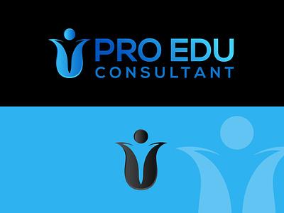 PRO EDU LOGO logos typography illustrator illustration vector logo design company logo branding educational education logo