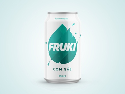 Fruki - Água Com Gás mineral gas water redesign can soda mockup graphic packaging package design