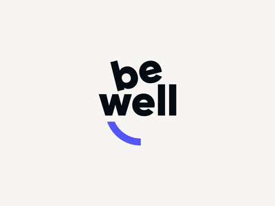 Be Well face positive happy after effects wink smirk smile animation symbol design blue branding mark icon identity logotype logo be well