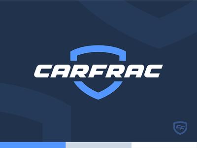 Carfrac Logo logotype custom typography italic automotive badge shield car vehicle mark identity branding logo