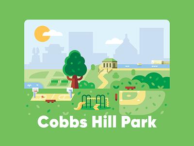 Cobbs Hill Park skyline bush tree basketball baseball sports shapes flat outdoors illustration simple geometric park