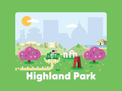 Highland Park park geometric simple illustration outdoors flat shapes tree bush skyline