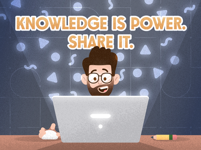 Knowledge is Power. Share it. thinking creative pencil grit mouse glasses beard character grainy mezzotint geometric man face computer laptop design illustration texture