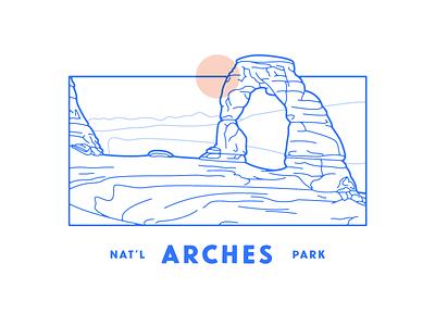 Arches National Park sun landmark rocks delicate arch utah landscape lines national park nps arch illustration