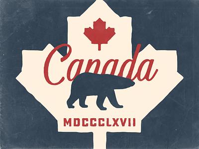 O Canada country flag script bear north america leaf maple leaf canadian polar bear sticker canada