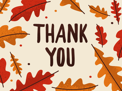 Thank You Card oak foliage thanksgiving fall leaves thank you