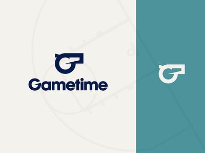 Gametime Logo mockmadness logotype branding identity sports logomark thick lines icon wordmark sans-serif basketball whistle