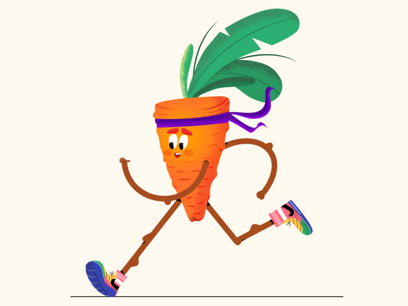 Sports Carrot design health healthcare healthy vegetables running 2d character character design 2d illustration 2d design character vector illustration carrots run sports carrot