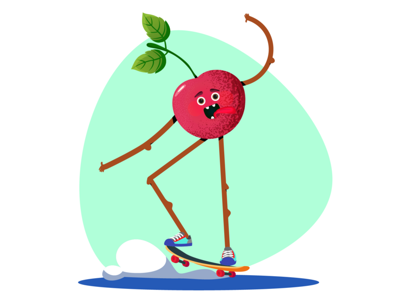 Cherry on skateboard illustration animation vector character concept flat design flat illustraion 2d character healthy food healthy sport vegetables fruit skateboard cherry character design character