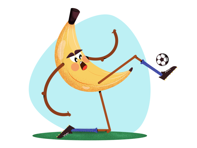 Banana is playing football emotions healthy food character concept vector animation flat sport funny healthcare 2d character design 2d character character fruits vegetables food football banana illustration