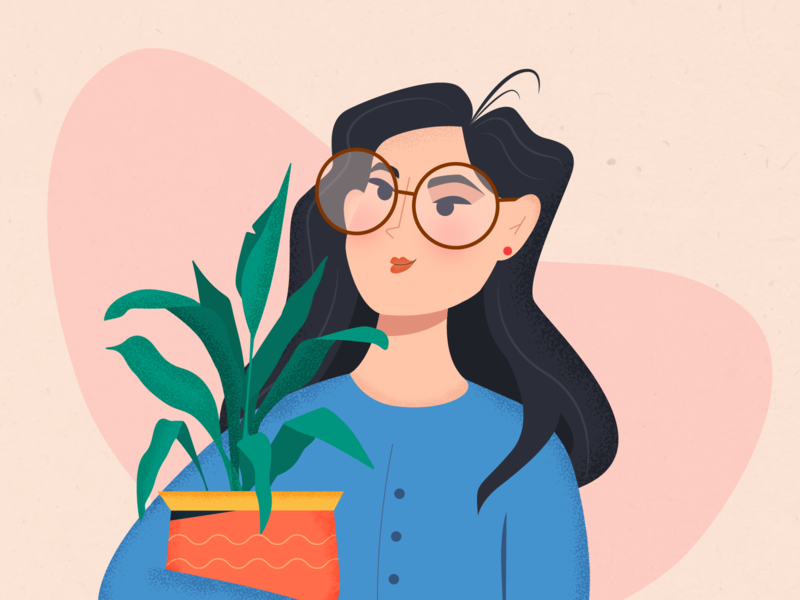 Girl with the plant vector concept character design 2d character character design illustration friends girl illustration girl character girl flower plant
