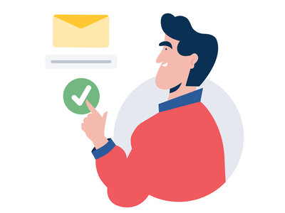 Email verification website web ok checkbox check email design vector character design 2d character illustration application app character man email marketing email