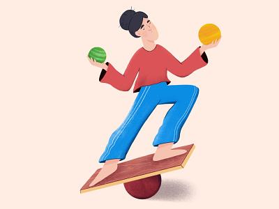 Balancing flat design character design brushes texture geometry 2d character character girl yoga balancing balance illustration