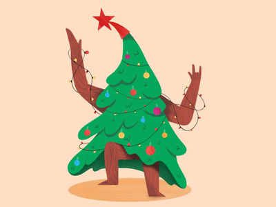 Christmas tree character 2d character character design illustration rocknroll rock wishes star winter dancing dance tree christmas tree christmas happy new year 2021 happy new year holidays
