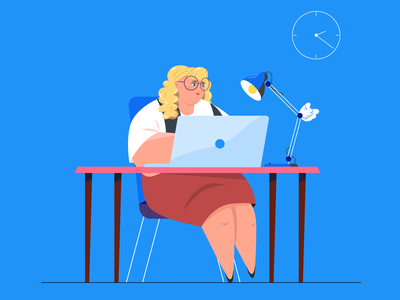 Girl working at the computer design character character design 2d character vector illustration girlfriend girl character blond blue laptop computer bodypositive body girl