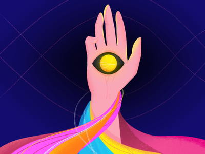 Magic view pink blue character illustration vector hand drawn wavey color palette colorful waveform wave ball eye hand views view magic