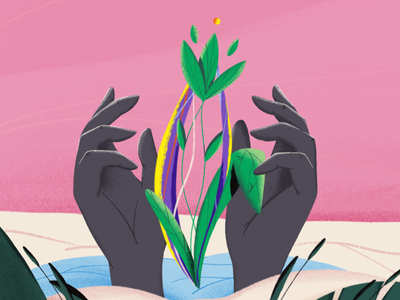 New  live texture process 2d instagram magic magical care planet technology nature plant flower hand drawn hand illustration