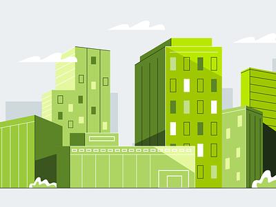 City architecture buildings urban art downtown city illustration skyline cityscape landspace color green design vector illustration town city