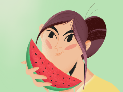 Girl with watermelon concept girl character vector character girlfriend graphic design procreate illustration character design 2d character summer watermelon girl