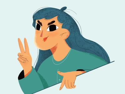 "Say ""Hi"" design color female woman girlfriend graphic design peace hello hi texture procreate character design 2d character character vector illustration girl"