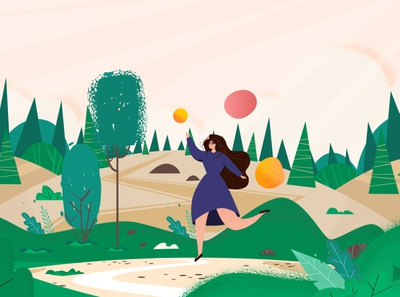 Girl in a magical landscape character design woman nature magic concept vector animation 2d character design character forest landscape illustration