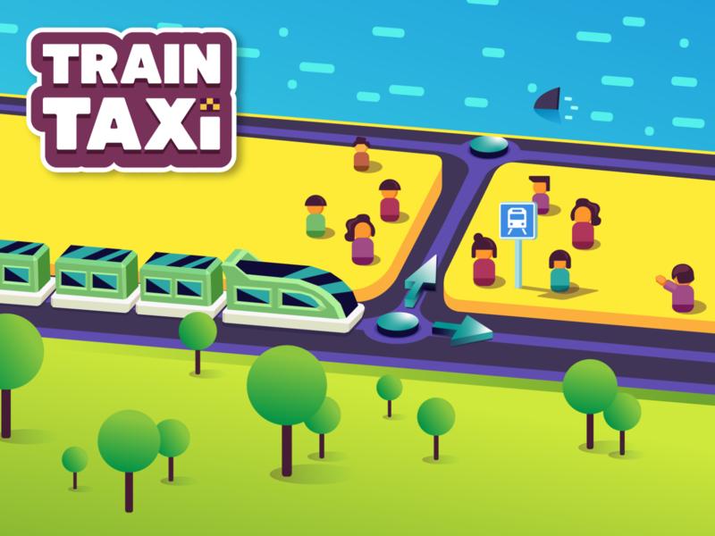 Train Taxi Game Ad lowpoly landscape taxi train icon app design ui vector web illustration