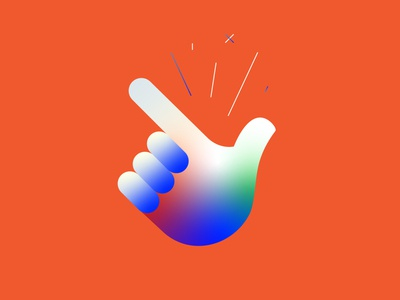 Click blue orange sticker icons web vector design illustration ui icon click hand