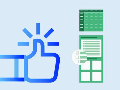 Pivot Tables blue orange green table nice icons sticker web design illustration ui icon pivot table excel