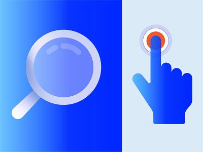 Search & Tap blue web app ux search design illustration ui icon