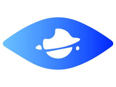Space Eye icons blue sticker logo vector web design illustration ui icon