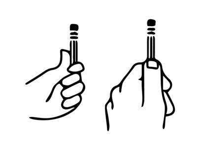 Pencil in hand sketch lesson drawing art logo black sticker vector design illustration icon hand pencil