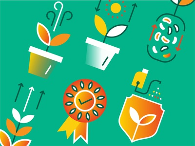 Agriculture leafs agronomy plants agriculture agro app icons sticker web vector design illustration ui icon