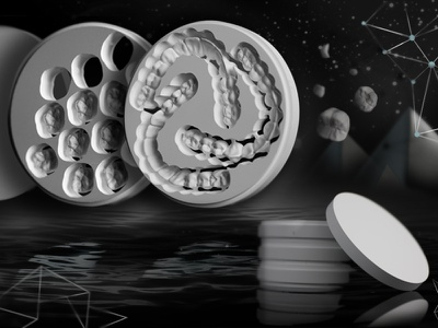 Zirconia Dental Discs moon surreal abstract design web slide art direction monochrome geometric high tech dental laboratory