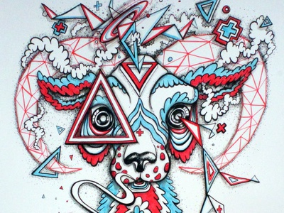 Clear cat illustration cartoon inktober ram triangle geometric character surreal abstract