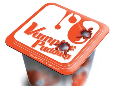 Vampire Pudding  package design logo pudding vampire vector