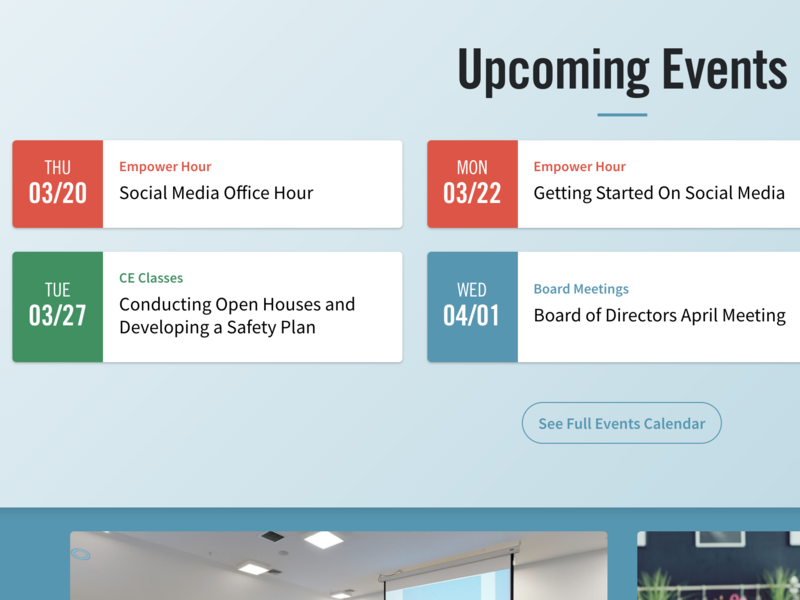 Upcoming Events front end ui development ui design ux design real estate agency real estate ux ui