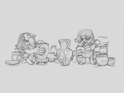 Pottery Gnome 2 drawing gnome dwarf sketchbook conceptart sketch fantasy portrait creature characterdesign character illustration