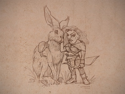 Hunter Gnome hunter hare drawing gnome dwarf sketchbook conceptart sketch fantasy characterdesign character illustration