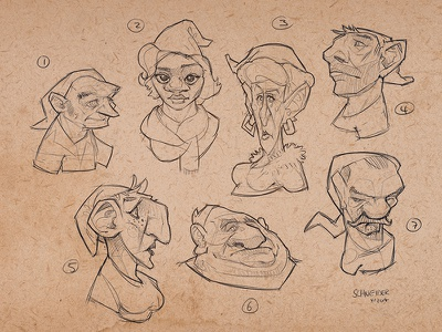 Gnome Sketches drawing gnome dwarf sketchbook conceptart sketch fantasy portrait creature characterdesign character illustration