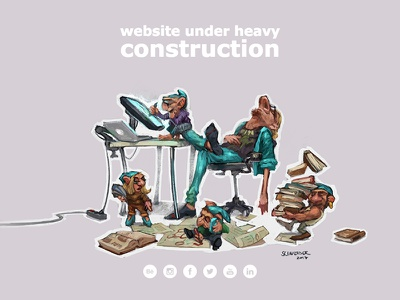 New Website portfolio construction domain website doodle sketch painting gnome photoshop character illustration