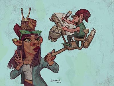 Selfie Stick stick selfie characterdesign dwarf portfolio painting gnome photoshop character illustration