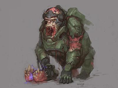 Overwatch Winston skin concept zombie halloween winston fanart overwatch conceptart sketch fantasy characterdesign illustration
